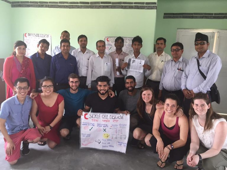 The Sickle Cell Team at one of the community workshops they organized to inform teachers in rural Nepal about sickle cell disease.